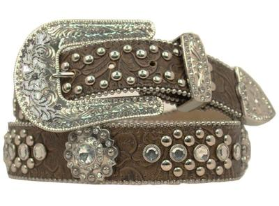 Cinturon Rhinestone Flower Brown